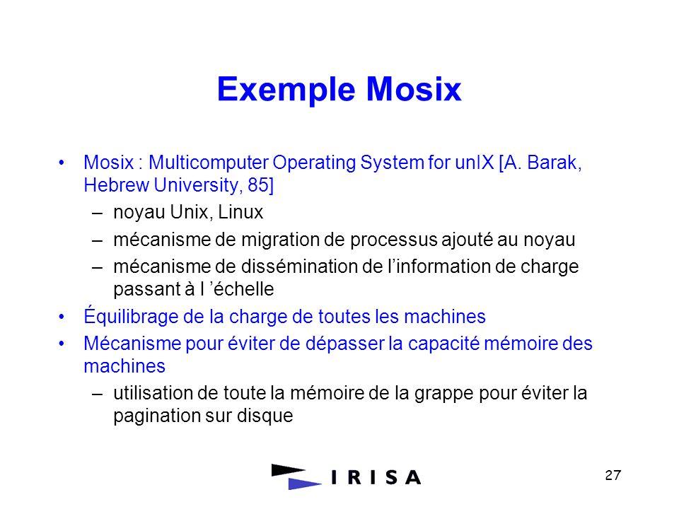 Exemple MosixMosix : Multicomputer Operating System for unIX [A. Barak, Hebrew University, 85] noyau Unix, Linux.